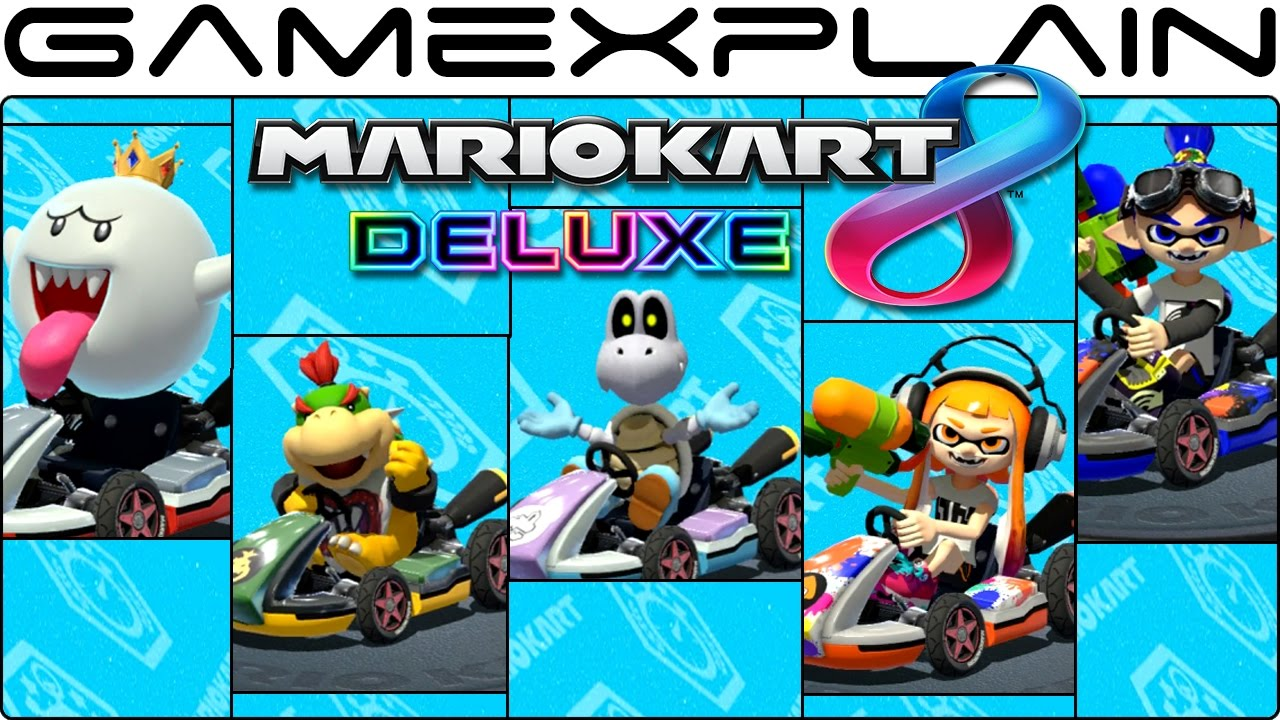 Mario Kart 8 Deluxe Gameplay Of All 5 New Characters King Boo Bowser Jr Dry Bones Inklings