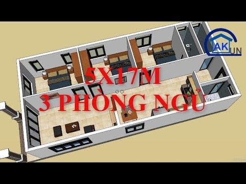 Sơ đồ bố trí mặt bằng nhà cấp 4 diện tích 7x15m có 3 phòng ngủ – Nhà đẹp Dakcun