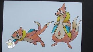 Drawing Pokemon: No. 418 Buizel, No. 419 Floatzel