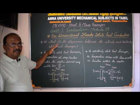 Heat And Mass Transfer Tutorial In Tamil - Steady And Unsteay State Heat Transfer