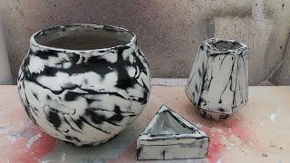 Lindo Vaso De Cimento Com Efeito Mármore