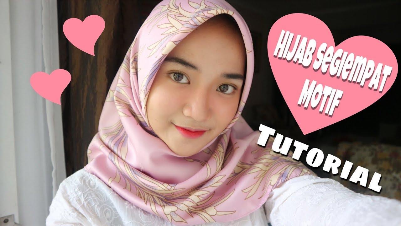 Tutorial Hijab Segiempat Motif (menutupi dada) | Mutiara ...