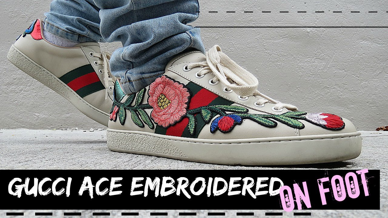 0287a00c159 Gucci Ace Embroidered low-top Sneaker On Feet   What I Wore - YouTube