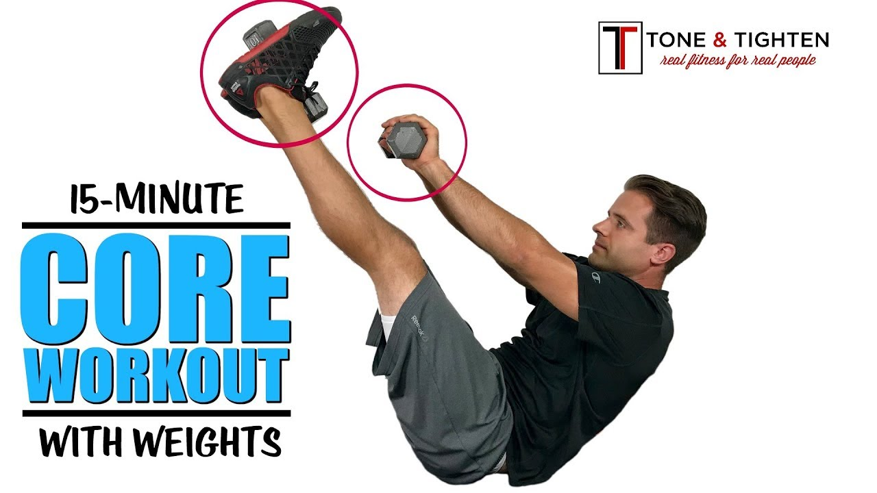 15 Minute Core Workout With Weights - Tone and Strengthen Your Abs With  These Dumbbell Exercises