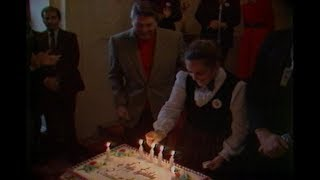 President Reagan Celebrating his Birthday with College Republicans on February 4, 1983