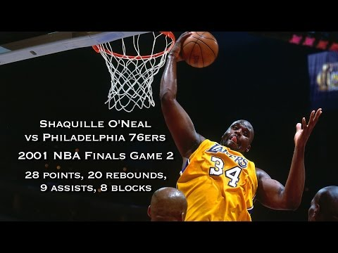 Shaquille O'Neal vs 76ers: 2001 NBA Finals Game 2 Full Highlights: 28 pts, 20 rbds, 9 ast, 8 blk