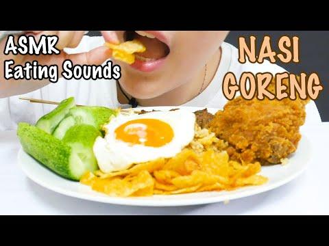 ASMR NASI GORENG (FRIED RICE)   YUMMY EATING SOUNDS   FULL OF TOPPINGS   ASMR INDONESIA   NO TALKING