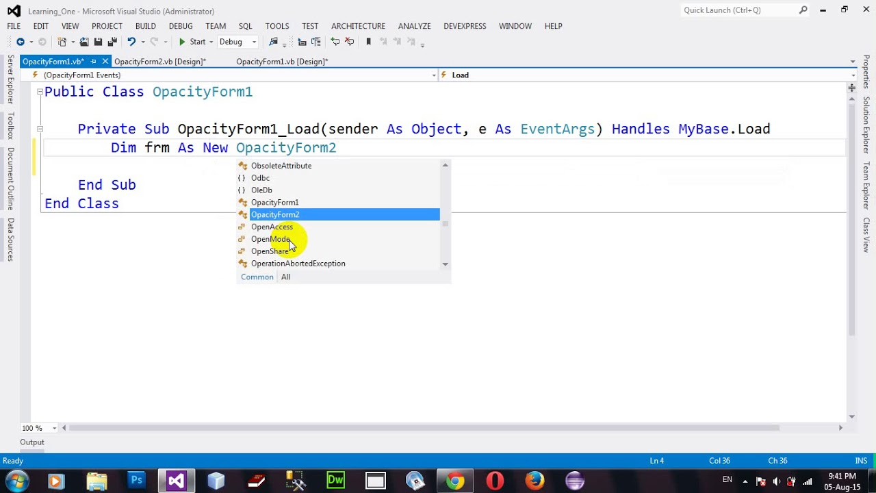 How to exclude control from a Window Form Opacity in VB 2012