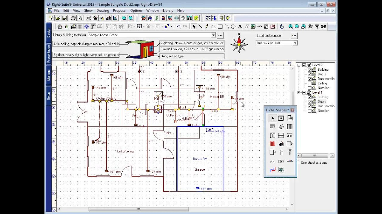 Wrightsoft Example Duct Design Step 7a Multi Level