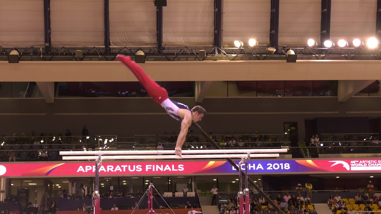 WATCH: Sam Mikulak strong once again on parallel bars
