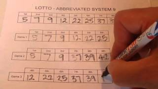How to Play Lotto With an Abbreviated System 9 - Lotto Wheeling - Step by Step Instructions