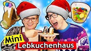 DIY Weihnachts Challenge 🎄 Mini Lebkuchen Häuser selber machen 🎄 Eva vs Felix 🎄