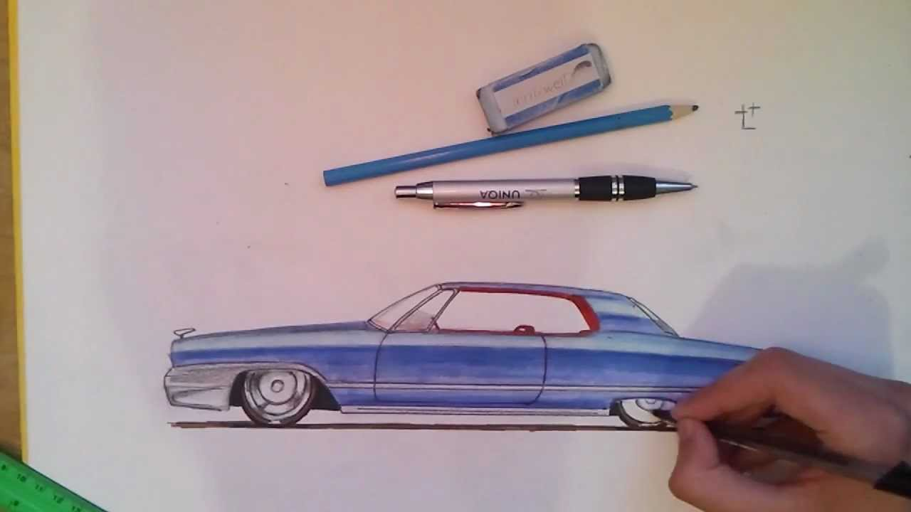 Classic car drawing - fast forward - YouTube