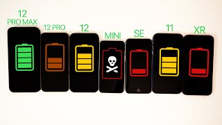 iPhone 12 vs iPhone 12 Pro Max vs 12 Pro vs 12 Mini vs SE vs 11 vs XR Battery Life DRAIN TEST