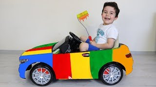 Yusuf Akülü Arabasını Boyadı! Painting Battery Powered Car by Oyuncu Yusuf