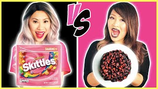 Pink Vs Black Food Challenge! Eating Only One Food for 24 Hours