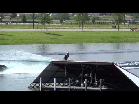 Jumping Jimin Jeong water ski jump at Hancock lake April.27.2016. 193ft/59m