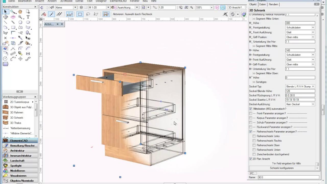 beschl ge und ausz ge im interior cad programm elementscad f r vectorworks youtube. Black Bedroom Furniture Sets. Home Design Ideas