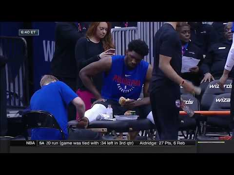 Joel Embiid Eating A Burger 90 Mins Before The Game | NBA Countdown | Feb 25, 2018