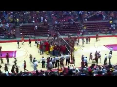 Fans rush the court after Cyclones defeat No. 1 Nebraska