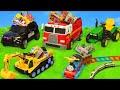 الحفار, الجرار, سيارة الإطفاء, شاحنات القمامة و سيارات الشرطة ومجمو Excavator Toys