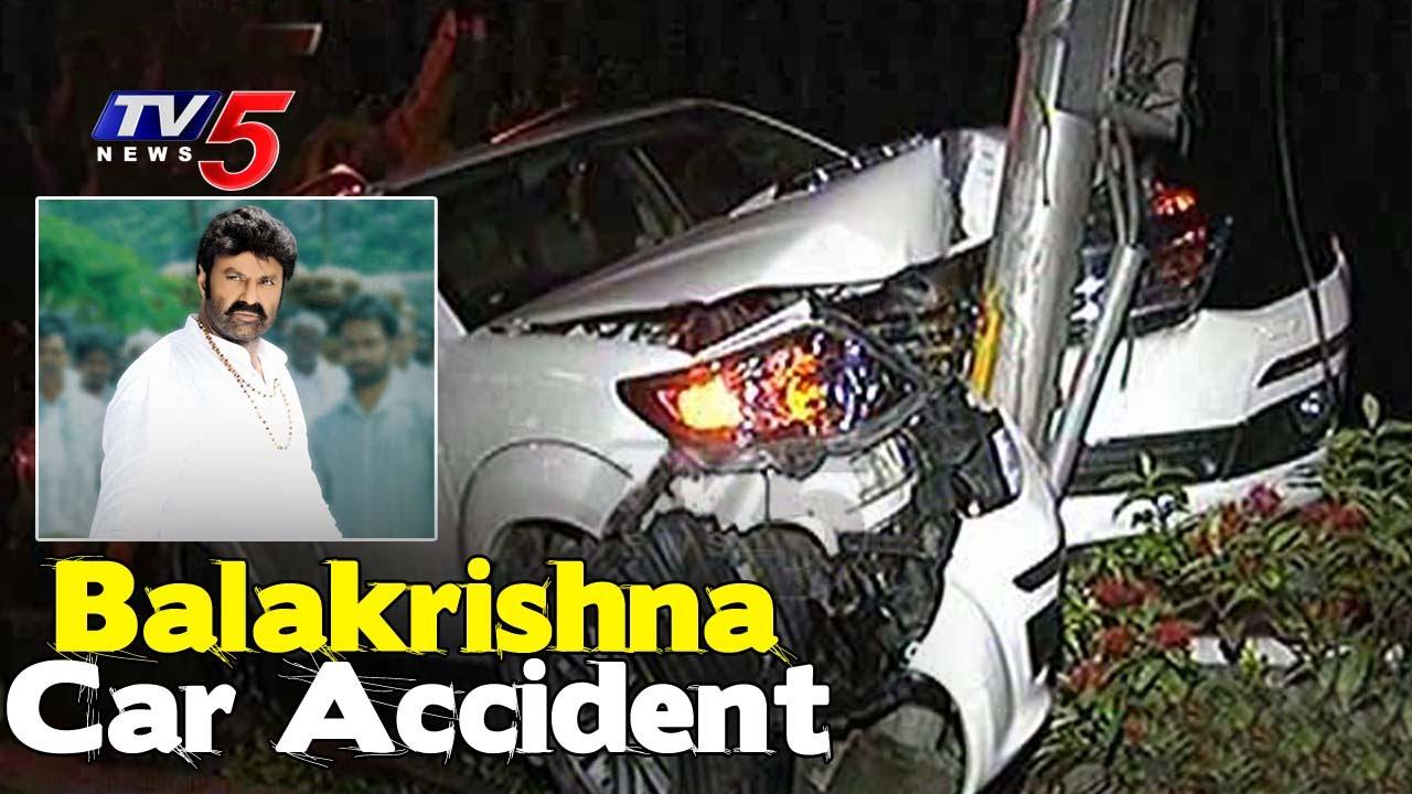 hero balakrishna car accident in banjara hills | no one injured