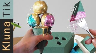 FLORAL FOAM & GLITTER ICECREAM!!  Kluna Tik Dinner | ASMR eating sounds no talk smithers oasis