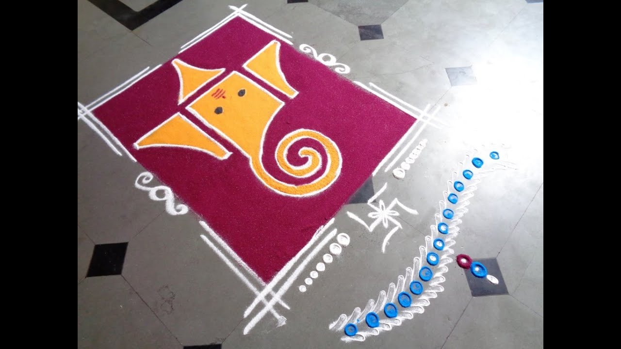 Simple and easy rangoli designs for home ganesh pooja