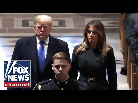 Trumps greet Obamas at President George H.W. Bush's funeral