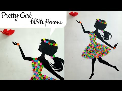 Diy Room Decor Ideas Making Girl With Flower Dress Wall