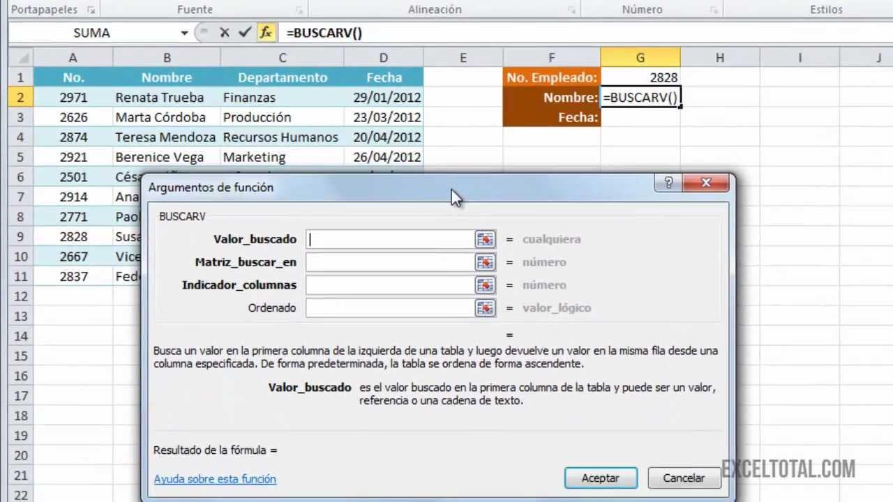 Tutorial Excel Función Buscarv Excel Total