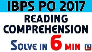 Reading Comprehension | Solve In 6 Min | English | IBPS PO 2017