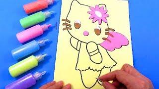 TÔ MÀU TRANH CÁT - TRANH CÁT HÌNH MÈO HELLO KITTY  Color Sand Paint