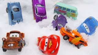 Disney Pixar Cars 2 Snow Day Launcher in Radiator Springs with Lightning McQueen Snot Rod and Mater