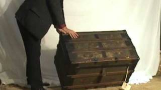 Iron Braces And Wood Straps Steamer Trunk