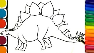 How to draw Dinosaurs, Coloring pages, How to draw and paint, Learning Colors