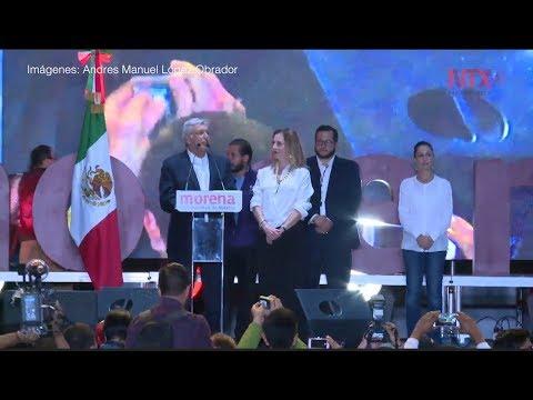 Miles de mexicanos festejan con López Obrador en el Zócalo capitalino