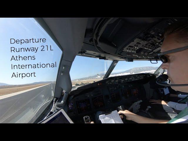 Departure runway 21L Athens International Airport (ATH LGAV).