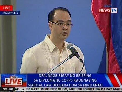 DFA, nagbibigay ng briefing sa diplomatic corps kaugnay ng Martial Law declaration sa Mindanao