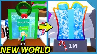 NEW NORTH POLE WORLD AND HATS IN ROBLOX PRESENT WRAPPING SIMULATOR