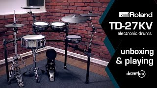 Roland TD-27KV electronic drums unboxing & playing by drum-tec