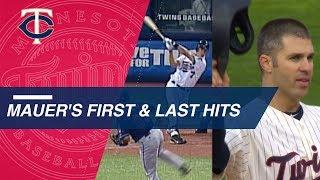 Joe Mauer's first and last Major League hits
