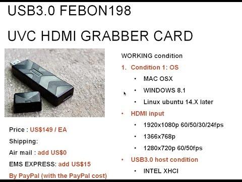Driver less USB3 0 UVC HDMI capture grabber stick card work