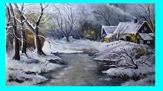 Как зиму поэтапно рисовать  гуашью/ Painting of a winter landscape step by step in gouache