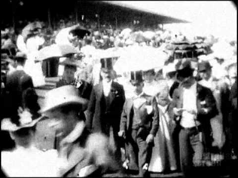 November 3, 1896 - The Melbourne Cup horse races in Australia (speed  corrected w/ added sound)