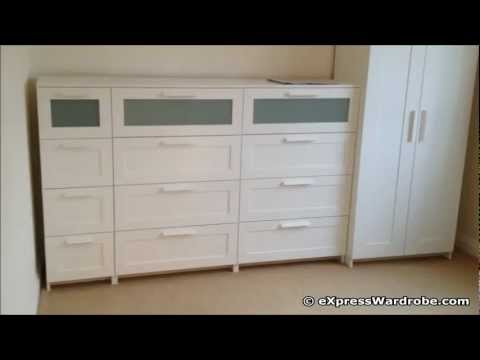 Video ikea brimnes 2 door wardrobe design with chest of for Ikea brimnes wardrobe hack