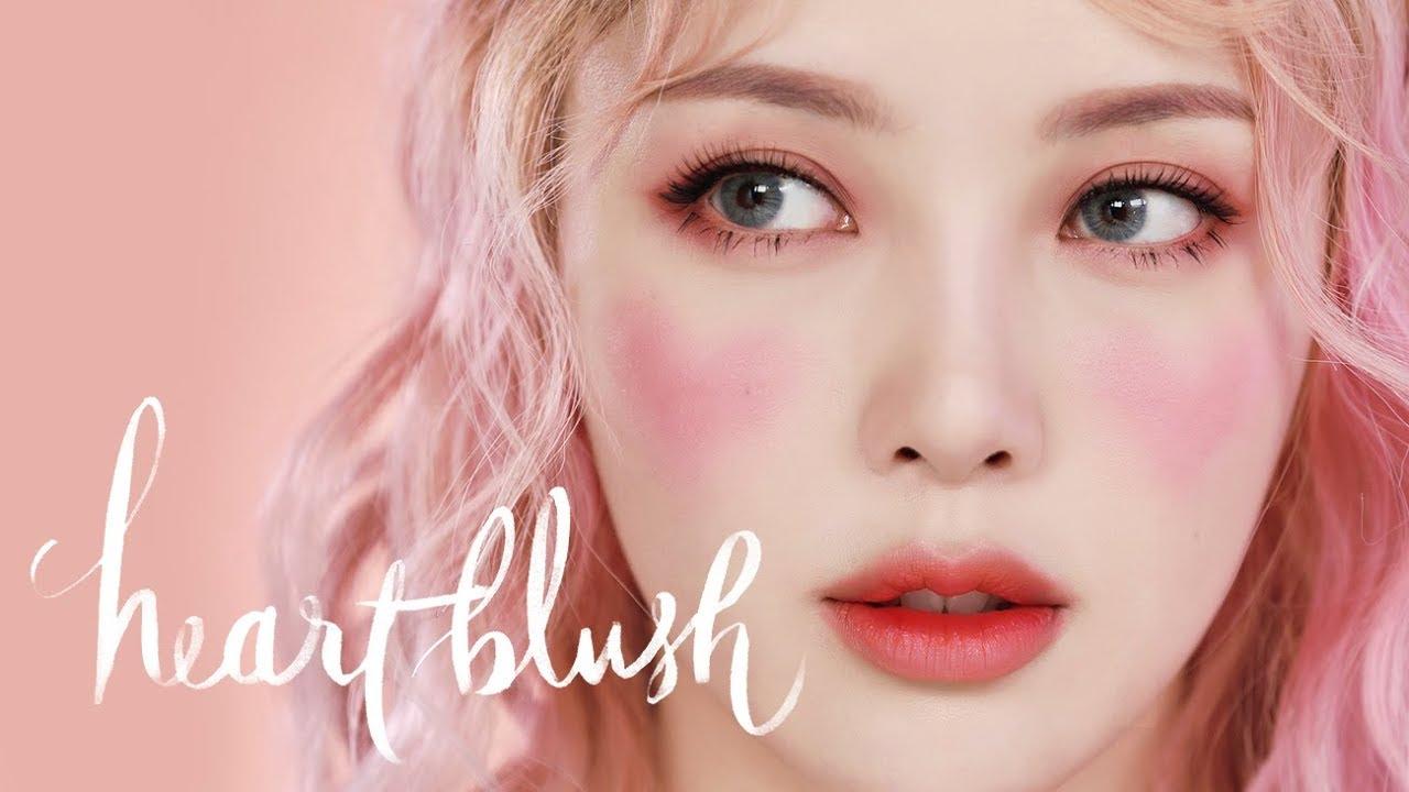 💗Heart Blush Makeup💗(With subs) 하트 블러쉬 메이크업