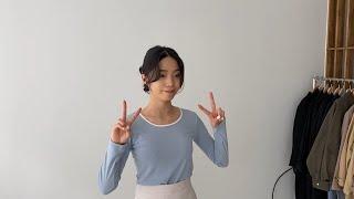 여자코디 배색티셔츠 미니스커트 | 사색 쇼핑몰 촬영 스…