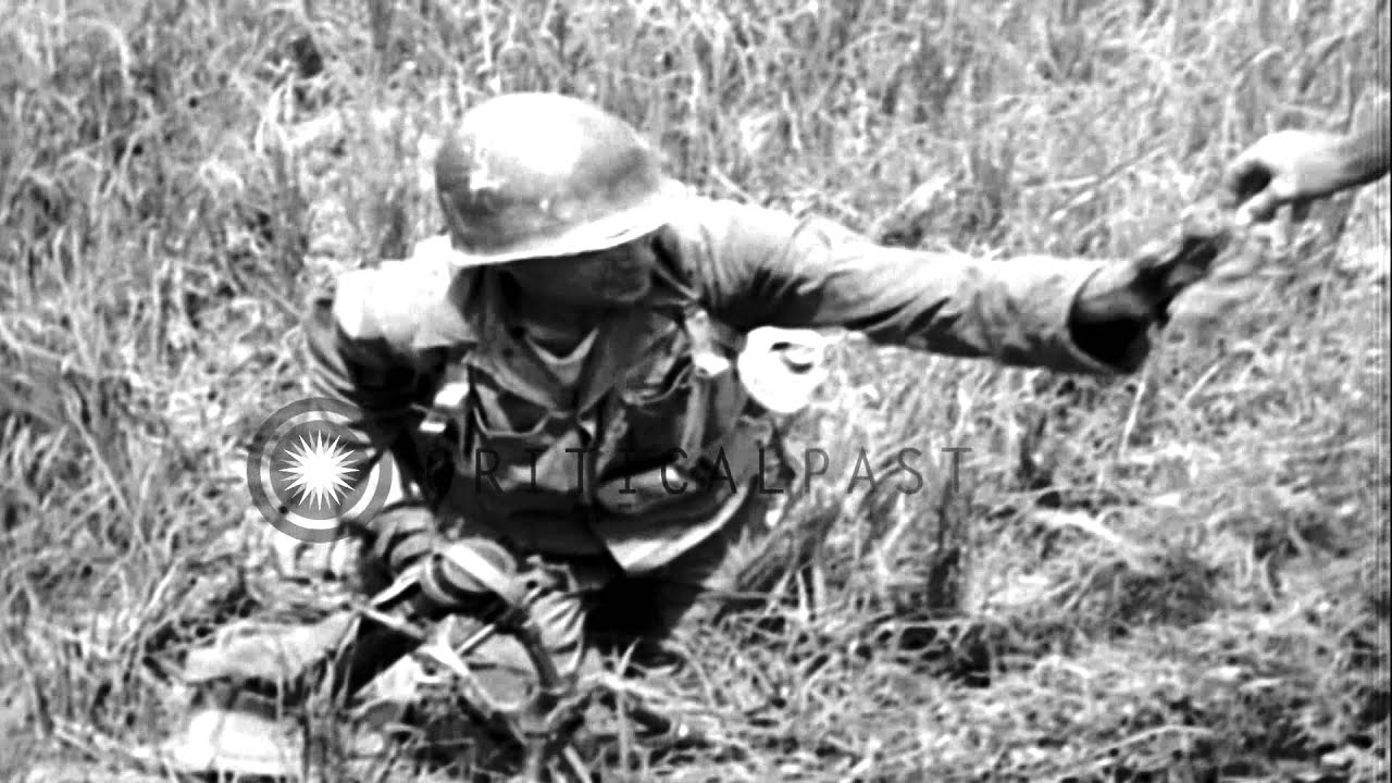Mortar In Field : Us soldiers of th infantry the division set up
