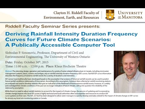 Deriving Rainfall Intensity Duration Frequency Curves for Future Climate Scenarios